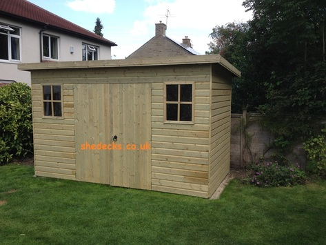 pent shed 16mm cladding heavy duty frame 62mm x 32mm tanalised